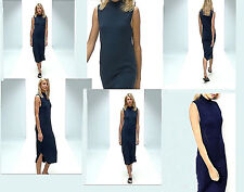 NWT Premium Asos Knit high neck Ankle Length Knit DRESS French Navy