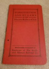 """1937? Constitution & By-Laws of ~""""ELECTRIC RAILWAY CLUB"""" SW Missouri RR Co."""