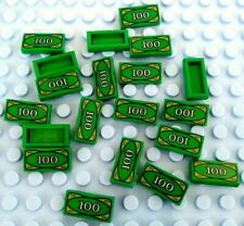 LEGO Compatible $100 Dollar Bill Tile x 10  Green Money Robber City *UK*