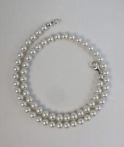 6mm White Pearl Necklace W/ Swarovski Crystal elements 14,16,18,20,22,24,30 inch