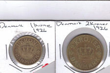 From Show Inv. - 2 OLDER COINS from DENMARK - 1 & 2 KRONER (BOTH DATING 1926)