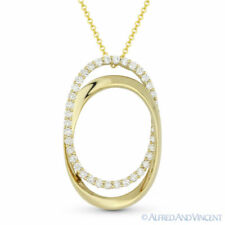 0.72ct Diamond Pave 14k Yellow Gold Oval Eternity Charm Pendant & Chain Necklace