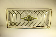 Antique Stained Glass Window Panel Beveled Leaded Old English Architectural