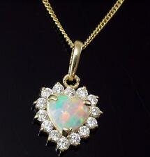 585 Gold  Opal Kette mit  Anhänger Herz mit Zirkonia Steinen Opal 14 x 9 mm