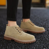 Mens Ankle Boots Wingtip Brogue Oxfords Quilted Lace Up Round Toe Casual Shoes