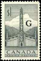 Canada #O32 mint VF OG NH 1953 Totem Pole $1 grey G Overprint CV$18.00