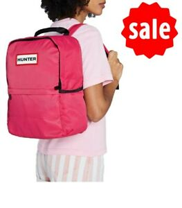 Hunter Original Nylon Rucksack Adjustable Back Straps Bright Pink Capacity 16L