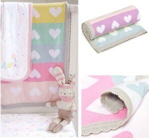 Mothercare Baby Girls Knitted Blanket Pink Hearts Grey Crochet Trim Pram Gift