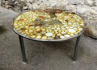 Table basse chrome et résine avec inclusion de pierre - coffee table