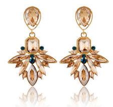Butterfly Rhinestone Drop/Dangle Oval Costume Earrings