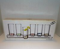 New The Cellar 7 Piece 2 oz. Shot Glass Set Base Tray Color Stripes Drinks