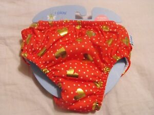 iPlay Reusable Swim Diaper Red/Gold Hearts/White dots 12 months 18-22 lbs NEW