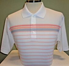 NEW ADIDAS ENGINEER STRIPE S/S POLO GOLF SHIRT, WHITE/SUNSET, PICK SIZE, $75