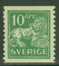 SWEDEN #118 (144A) 10ore green Lion, unwatermarked, og, NH, XF
