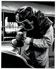 1960 Original Photo manufacturing worker at Chrysler Auto buffing car body