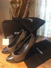 "CHANEL Two Tone Gray Suede CC Logo 4"" Platform Pumps Heels Shoes NIB Bag"