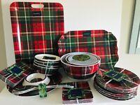 Tommy Bahama Melamine Christmas Plaid Plates/Platters/Tray/Bowls/ NEW U Pick