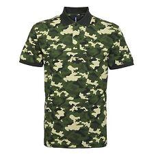 Men's Classic Fit Camo Piqué Polo Combat Camouflage Army Print Poloshirt T TOP