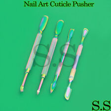 Nails Cuticle Pusher Remover Stainless Steel Nail Art Manicure Tools Rainbow