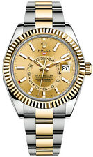 Rolex Sky Dweller Two-Tone 42mm Champagne Dial Fluted Bezel Dual Time 326933