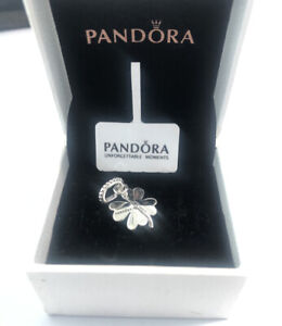 ALE S925 Genuine Silver Pandora Lucky Four-Leaf Clover Pendant Charms & With Box