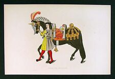1843 Shaw Print - Horse & Attendant from Tournament Roll of Henry VIII - England