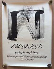 """AFFICHE DE GALERIE: """"Garanjoud"""" Galerie Archipel 1990 Isle sur la Sorgue"""