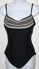 GOTTEX Black 1 Pc Swimsuit Tan White Stripe Embellished Tank 16