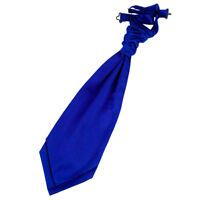 DQT Satin Plain Solid Royal Blue Wedding Pre-Tied Mens Cravat
