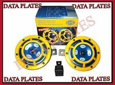 HELLA DUAL SUPERTONE YELLOW PANTHER 12V DC SHARP TONE HORN PAIR WITH RELAY