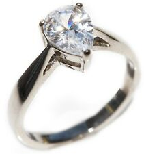 Ah! Jewellery Ladies Stainless Steel Simulated Pear Cut 1.70ct Diamond Ring.