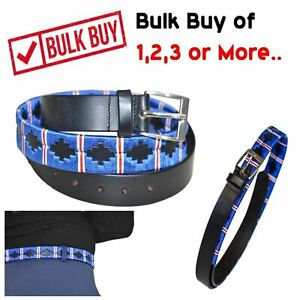 Handmade Belt Polo Argentinian Brown Leather Belts Blue/Red - 36'' - Set Buy