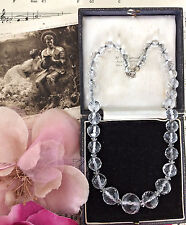 Antique Edwardian Pools Of Light Rock Crystal Quartz Necklace Silver Chain Bride