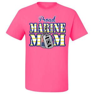🔥 Proud Marine Mom Unisex T Shirt USMC Marine corps Tags USA Flag Gift for Mom