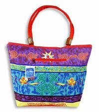 "Purple Blue Water Resistant Wood Balls Canvas Beach Bag Zipper Closure 21x15x6"""