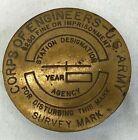 Vintage US Army Corps Of Engineers Brass Survey MarkerOriginal Period Items - 13982