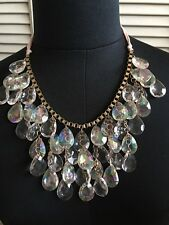 Forever 21 Bling Chandelier Statement Crystal Cut Beaded Necklace Clear/Gold NEW