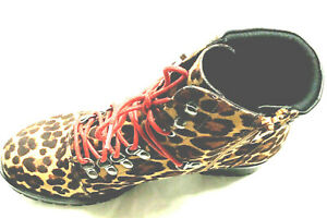 SO Creek Women's Hiking Boots Size 9M Leopard Print Red Laces