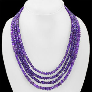 FACETED 439.00 CTS NATURAL 4 LINE PURPLE AMETHYST ROUND BEADS NECKLACE (RS)