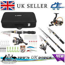 Fiberglass Telescopic Fishing Rod and Reel Combo Set Spinning Full kit Line Lure