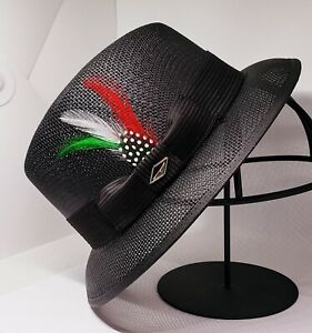 Mens Classic Black lowrider center crease  hat fedora green red white rooster