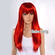 Red 60cm Party Wig Anime Hair Straight Long Ladies Cosplay Women Full Wig