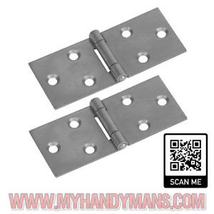 2 x Heavy Duty Steel Back Flap Hinges Box Hinge, Counter Hinge Various sizes