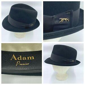 Vintage Adam Premier Hat size 7-1/4 Black Jaguar Pin Felt New York 60s Fedora AC