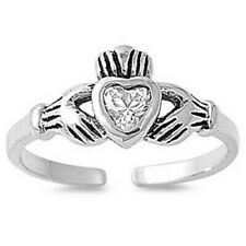 925 Clear Cz Face Height 7 mm Claddagh Toe Ring Solid Genuine Sterling Silver