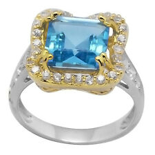De Buman Two-tone Sterling Silver 7.20ctw Square Swiss Blue Topaz Ring, Size 7