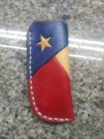 Custom Leather Belt Pocket Knife Sheath Texas Handmade Handstitched Trapper