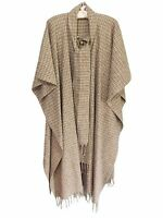 1970s Womens One Size Poncho~Cape~Attached Scarf ~Wool~ Earth Tone Colors~Drapes