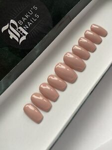 Hand Painted False Nails Nude Natural Neutral Square  Short Press On Nails