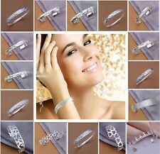 Wholesale Fashion 925Solid Silver Bangle Ladies/Mens Silver Bracelet Jewelry+bag